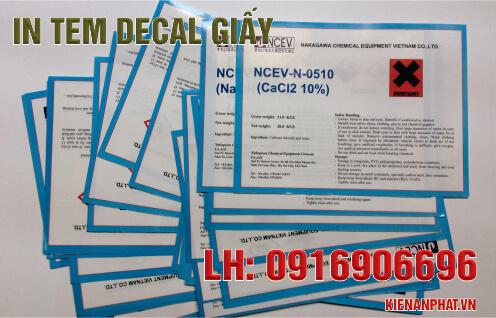 In tem decal giấy chất lượng tốt tại TPHCM