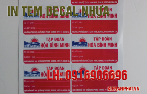 In tem decal nhựa tại TPHCM